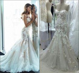 Exquisite Wedding Dresses Mermaid Trumpet 2015 Sweep Sheath Sweetheart Lace Applique vestido de novia Stunning Ball Bridal Custom Made