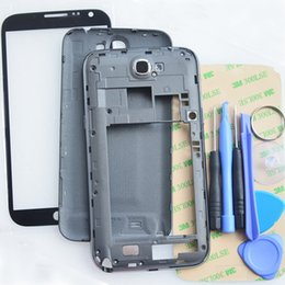 Wholesale Genuine Complete Full Housing Cover for Samsung Galaxy Note N7100 Middle Frame Bezel Battery Cover Front Glass M Tools replacements parts