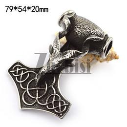Nouveaux arrivage charmes Charmes 316L en acier inoxydable chèvre Forme Thor marteau pendentif à la mode des hommes bijoux à partir de charmes de chèvre fabricateur
