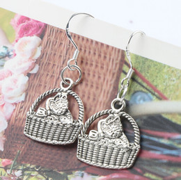 Wholesale MIC Baby Cat Basket Charm Pendant Earrings x35 mm Silver Fish Ear Hook Dangle Chandelier Jewelry E1155
