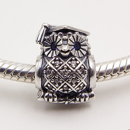 100% 925 Sterling Silver Owl Charm Bead with Blue Cz Fits European Pandora Jewelry Bracelets & Necklaces