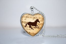 Wholesale 10pcs Music Horse Heart Pendant Horse Jewelry Horse heart Necklace Glass Photo Cabochon Necklace