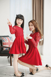 Wholesale Mother And Daughter Clothes Summer Dresses Girls Lace Tulle Hollow Out Dress Family Dress Mom Baby Clothes Autumn Long Sleeve Princess Skirt