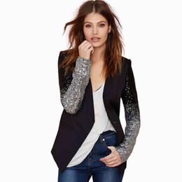 2016 Nuevas llegadas moda negro trajes con plata y negro lentejuelas gradiente mangas largas solo botón delgado casuales chaquetas abrigos baratos desde solo botón abrigos negros fabricantes
