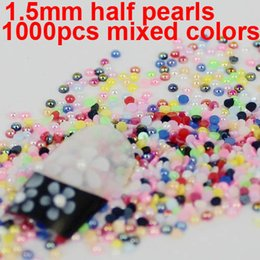 Wholesale Half Round Pearls mm AB Colors bag bags Total Imitation Pearls For Nail Art Popular For Nails