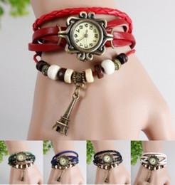 Cuero al por mayor-Negro Azul Verde Blanco Rojo pulsera de cuarzo reloj de la torre del reloj de las mujeres de la moda de vestir desde relojes de cuarzo rojo verde proveedores