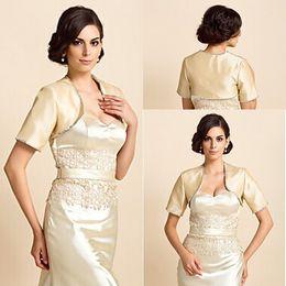 Spring 2015 Color Bridal Bolero Jacket Short Sleeve Light Gold Satin Beading Wedding Bolero Jacket