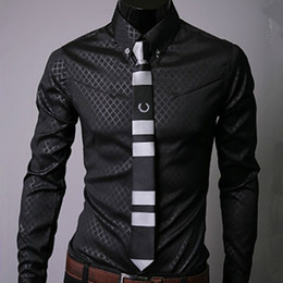 Wholesale Classic Dress Shirts Shadoweave Plaid Single breasted Long Sleeve Casual Men Clothing Spring Autumn Shirts Turn down Plus Size