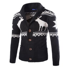 Wholesale-New Fashion Christmas Mens Full Sleeve Sweater Deer Pattern Cable Knit Crew Neck Sweater For Christmas Men Cardigan Q1623
