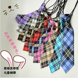Wholesale Hot Fashion Boys Girls Baby Printing Scotland Plaid Grid Pattern Red Blue Ties For Kids Pre tied Elastic Neckties
