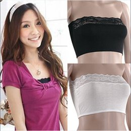 Wholesale Retail Candy Color Women Lace Vests Bra Lady Bamboo Fiber Brassiere Cami Wrap Chest Soft Crop Top Underwear Sling Suspenders