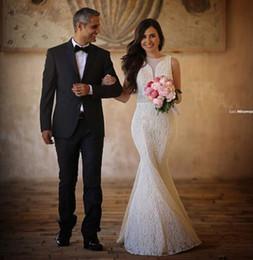 2016 Mermaid Wedding Dresses Lace New Bridal Dress Short Train Jewel Neckline Zipper Back Vestido de Novia
