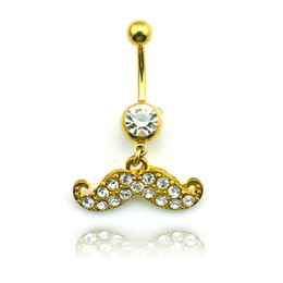 Fashion Belly Button Rings Gold Plated Stainless Steel Dangle White Rhinestones Beard Navel Rings Piercing Jewelry