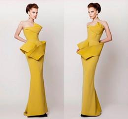 Elegant Women Formal Yellow Evening Prom Dresses Mermaid Peplum Morden Long Evening Gowns Floor Length Scalloped Arabic Muslim Fashion Dress