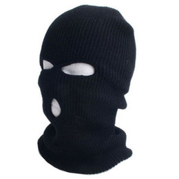 Wholesale 2015 New Full Ski Mask Three Hole Balaclava Knit Hat Winter Snow Beanie Stretch Cap