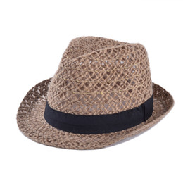 Wholesale-2015 New Fashion Womens Cap Summer Beach Sun Linen Hat with Ribbon Band Casual Sunhats Hollow Out Design Caps