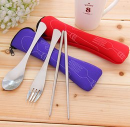 Wholesale Portable Stainless Steel Cutlery Fork Spoon Chopsticks Outdoor Tableware Camping travel adult kids children with Cloth bag Dinnerware Sets