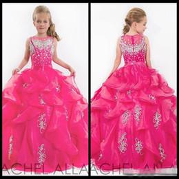 Cute Glitz Little Girls Pageant Dresses Children Princess Shiny Heavy Beaded Kids Flower Girl Dress Fuchsia Kids Prom Dresses