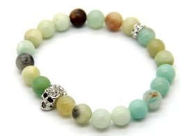 2015 New Design Jewelry Wholesale 8mm Natural Amazonite Stone Beads Silver Skull Bracelets, Summer Bracleets Party Gift