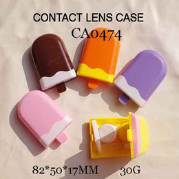 Wholesale Contact Lenses Box Cream - FREE SHIPPING!wholesale CA0474 new design ice cream colorful contact lens cases, color lens holder, travel boxes