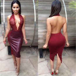 Sexy Embroidery Halter PU Leather Dress For Women 2015 Brand New Fashion Split Banquet Dinner Party Dresses Club Wear Red Black