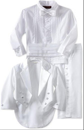 New boy formal wear white tuxedo suits boy weddings the best man for the boy's formal occasion (coat + pants + + shirt waist sealing + tie)