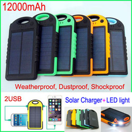 Solar Mobile Backup Battery External Power Bank 12000mah Solar Charger Waterproof Proof Dust Portable Charger for Mobile Phone Samsung ipad