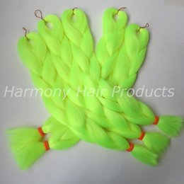 Kanekalon Jumbo braiding hair 24inch Folded 80grams Solid NEON YELLOW Color Xpression Synthetic braids Hair Extensions TF2106