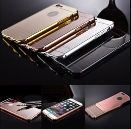 Wholesale 2 in Ultra thin Aluminum Metal Bumper Mirror Back Case Cover for iPhone Plus Samsung S6 Edge Note
