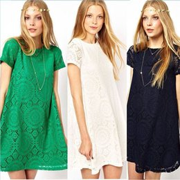 New Casual Dress 2014 Women Short Sleeve Lace Party Loose Princess Mini Dress Dress Free Shipping&Wholesales