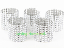 Wholesale Silver quot Bow Napkin Rings Bow Covers Diamond Rhinestone Wedding Chair Sashes Bows Holder
