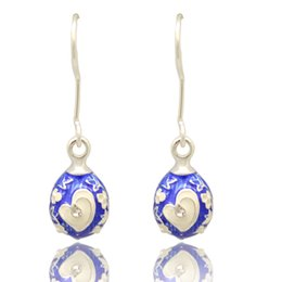 Crystal Heart Easter Egg Faberge Egg Earring Charm Silver Gold Plating Easter Day Dangle Drop Earring