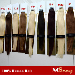 "XCSUNNY 18"" 20"" Tape Virgin Hair Pu Skin Weft Extensions 100g pack Extensions Tape Hair Skin Weft Seamless Hair Extensions"