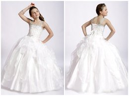 Wholesale 2015 White Little Girl Pageant Prom Flower Girl Dresses For Birthday Party And Wedding Spaghetti Straps First Holy Communion Ball Gowns Lowe
