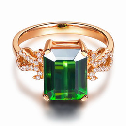 Bague tourmaline en or vert en Ligne-Livraison gratuite Solid 14K Rose Gold Natural Green Tourmaline Engagement Diamonds Ring (R0069)