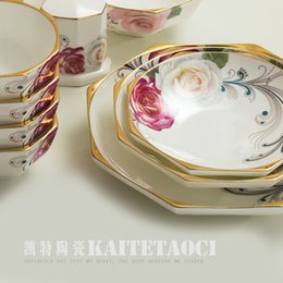 Wholesale Dinnerware Sets High grade dishes head bone china tableware sets Jingdezhen Porcelain Dinnerware Set bowl wedding