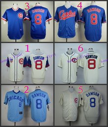 Wholesale Andre Dawson Jersey Cheap Chicago Cubs Throwback Baseball Jersey High Quality Stitched Beige Blue