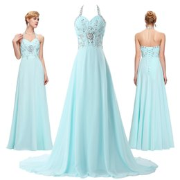 Wholesale 2016 Best Selling Grace Karin Stock Halter Chiffon Long Formal Evening Dress Crystal Beaded Sequin Ball Gown Evening Prom Party Dress CL4653