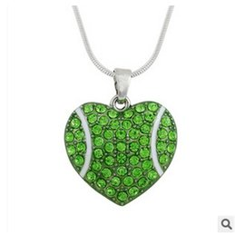Wholesale 10pcs women fashon jewelry Creative Alloy Heart diamond Pendants Softball Necklace Sports memorabilia