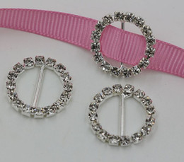 Wholesale Hot Round Crystal Rhinestone Ribbon Slider Buckles Wedding Invitations mm mm mm a0645