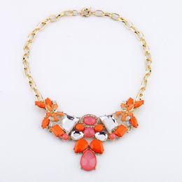 Wholesale new arrived European style fashion women jewelry fresh orange drop pendant short necklace