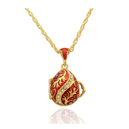 Red enamel Faberge Egg Pendant Leaf Flower Easter Egg for Russian Style Necklace with Crystal and Gold Plated Chain