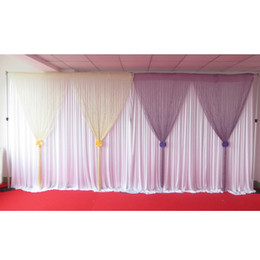 New Design Curtain: 3m W*2.8m H Gold Lilac Line Tassel Wedding Backdrop Curtain With Free Shipping