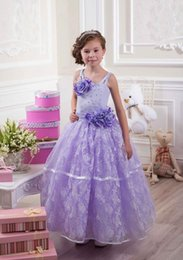 Wholesale Beautiful Spaghetti Beaded Hand Made Flower Lace Baby Girl Birthday Party Christmas Dresses Children Girl Party Dresses Flower Girl Dresses