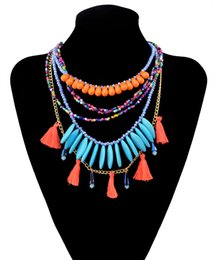 Fashion Style gold plated 4 colors rhinestone acrylic beads multilayer chain necklace jewelry