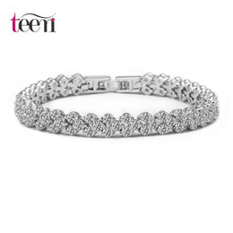 Wholesale Classic Women Dresses For Wedding - Teemi Classic Rome 3Row AAA Clear Cubic Zirconia Women Bridal Fashion Jewelry Charm Bracelet For Engagement Wedding Dressing Party