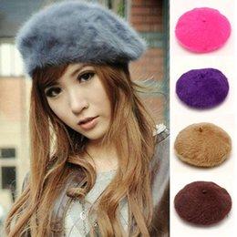 Wholesale Lapin Cute - Wholesale-Blueness Women's Winter Warm Cute Elegant Hats Multicolor Artist Rabbit Fur Lapin Beanie Beret Hat For Women FC0335