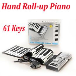 DHL Mano Flexible Roll-up Portátil 61 Teclas Teclado Suave Piano Sintetizador Piano Electrónico Construir en Altavoz USB MIDI Retail Box desde enrollar 61 teclas proveedores
