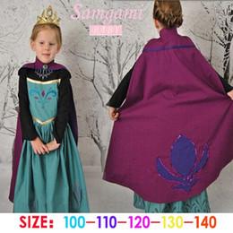 Promotion anna manteau gelé 10pcs 2015 nouvelles filles Frozen Anna robes de dentelle princesse costume d'été de dessin animé de robe avec un manteau bébé Enfants habits de fête