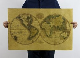 Wholesale Classic Poster Retro Craft Paper World Map Vintage Home Decoration Antique Decal Art Mural Poster Sticker Various World Map Wallpaper Decor